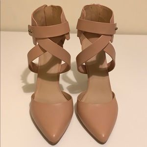 Joe's tan strapped heels